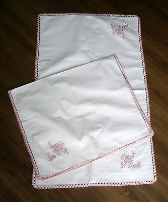Vintage Pair White Linen & Pink Hand Embroidered Hand Crochet Edge Pillow Cases