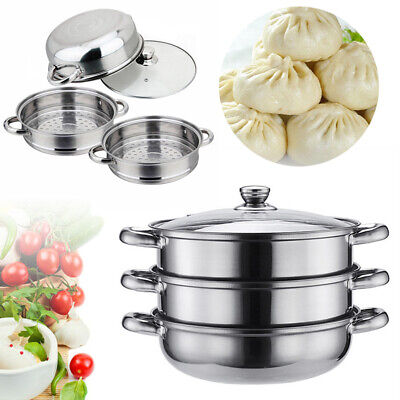 3 Tier 27.5Cm Induction Hob Stainless Steel Steamer Pot Pan Set With Glass Lid