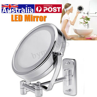 """6"""" Dual Sided 7X Magnifying LED Lighted Makeup Mirror Wall Mount Bathroom Mirror"""