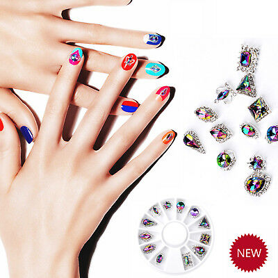 Nail Art Wheel 3D Rhinestone Crystal Glitter Gems Design Jewelry Decoration Tips
