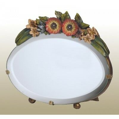 A Cute  Barbola Table Mirror Colourful Profuse Floral Frame Shabby Chic