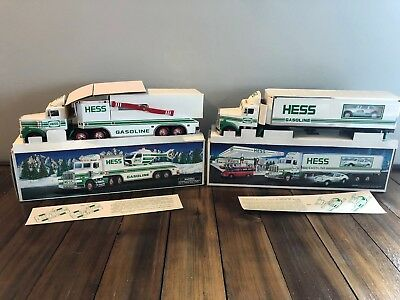 Hess 2 Piece Truck Lot 1992 18 Wheeler & 1995 Toy Truck & Helicopter