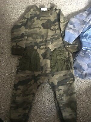 Baby Boys Next Outfits Army Print Green & Blue Age 9-12Months