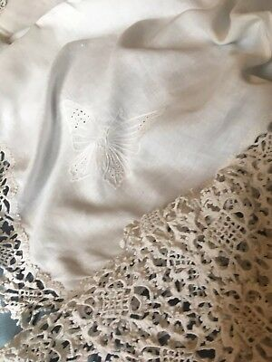 White vintage linen tablecloth with handmade lace drop each side + embroidery