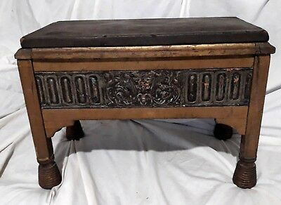Antique RARE Victorian Satanic Gothic Green Man Original Leather Top Footstool