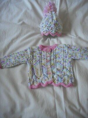 Baby Girls Hand Knit Cardigan & Hat Set- Flower Detail Size 0-3 Months -New