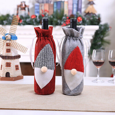 Cute Merry Christmas Santa Wine Bottle Bag Cover Xmas Dinner Party Tables Decor