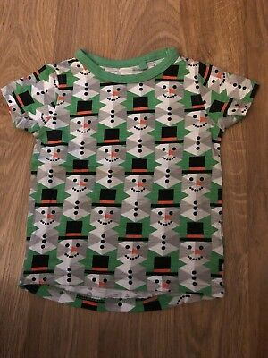 NEXT BABY BOYS Green Snowman Christmas Top Age 6-9 Months USED