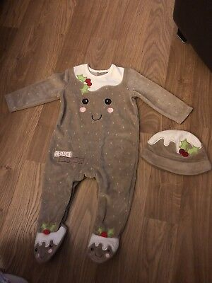 Baby Girls Christmas Pudding Babygrow Age 6-9 Months Used