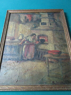 Antique Oil On Board Signed