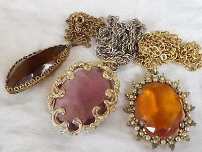 Three Dazzling Vintage 1950s/60s Crystal Necklaces