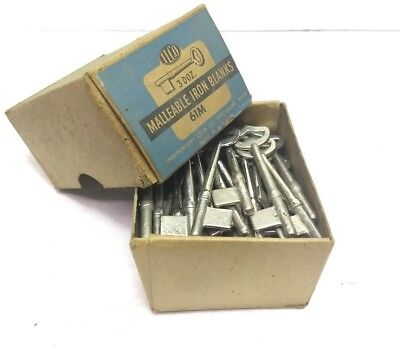 NOS Vintage ILCO Skeleton Keys Malleable Iron Blanks 61M (Set of 51)