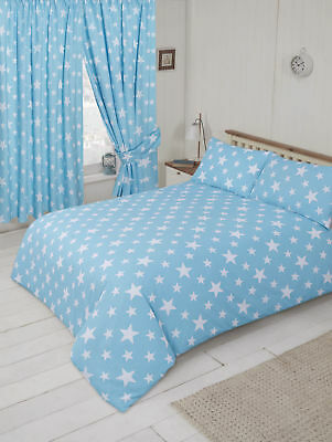 Baby Blue And White Stars Junior Cot Bed Duvet Cover Bedding Set Stars Theme