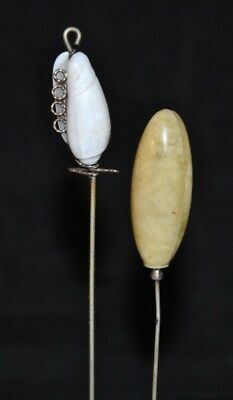 "Lot of Two Antique Vintage Hat Stick Pins 8"" - 8 3/4"""