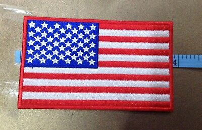 """AMERICAN FLAG EMBROIDERED Iron-On PATCH 4"""" x 2"""" Red BORDER USA Patriot"""