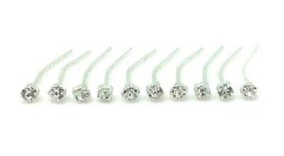 10 x Sterling Silver Clear Clawset Nose Studs Piercing Stud Body Jewellery