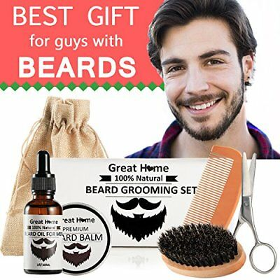 Beard Care Grooming Oil Kit for Black Mans Moustache Trimming Set for Male with
