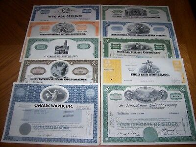 Lot of 10 Different Stock Certificates. TL7