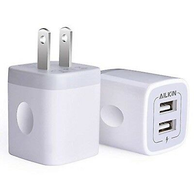 USB Wall Charger, Charger Adapter, Ailkin 2-Pack 2.1Amp Dual Port Quick Charg...