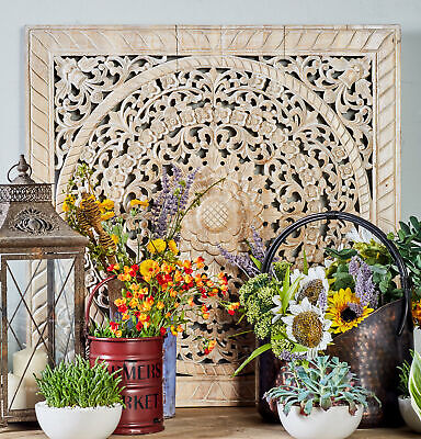 BUNGALOW ROSE RUSTIC Floral Medallion Square Wall Decor - $109.99 ...