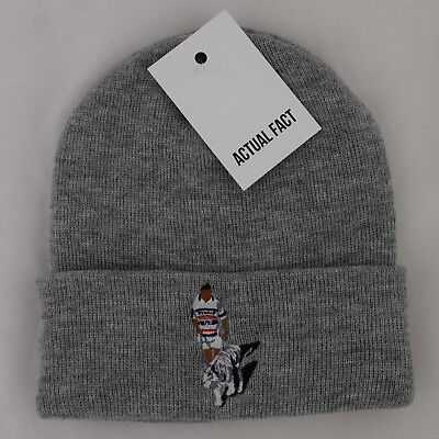 Actual Fact Tyson Tiger Embroidered 80s Winter Wooly heather grey Beanie Hat