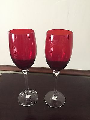 2 Ruby Red Crystal Champagne Wine Toasting Flutes - Wedding Anniversary