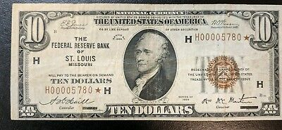 """1929 10.00 National Currency  ST LOUIS VERY FINE """"STAR NOTE""""  SCARCE to RARE"""
