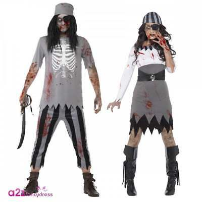 Adults Zombie Pirate Costume Halloween Buccaneer Mens Womens Fancy Dress Outfit