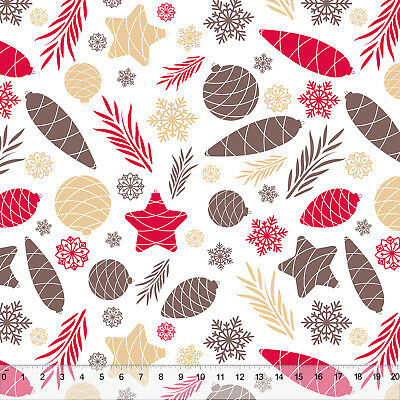 """Christmas Pines & Cones - Home Decor Fabric Polyester 62"""" W Sold by the Yard"""