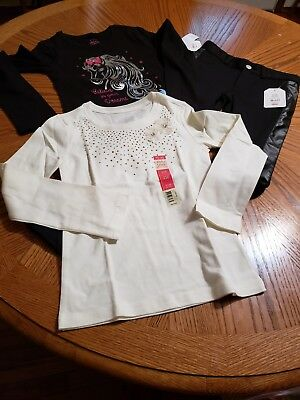 Two Girls Long Sleeved Faded Glory Shirts Size M (6-6X)  with Tuxedo Pants -NWT
