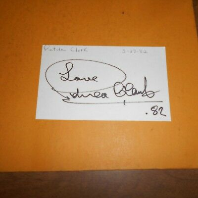 Petula Clark, CBE is a British singer, actress + compose Hand Signed Index Card