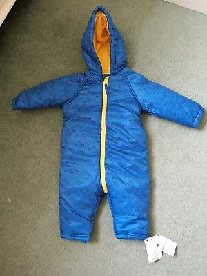 BNWT Mothercare Baby Boys Blue Monkey Shower Resistant Snow Suit Age 6-9 Months