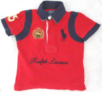 Ralph Lauren Polo top blue red embroidered T Shirt 18 months