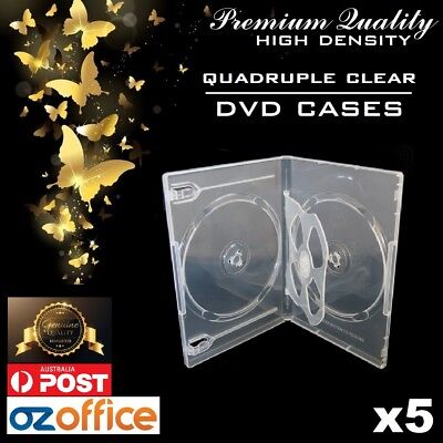 PREMIUM 5 x Quad Clear DVD Case 4 Disc DVD Cover w/ Clear Outer Wrap 14mm Spine
