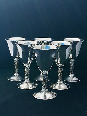 Valero Vro2 Silverplate Set Of 6 Wine Goblets 5 1/4 Inch Made In Spain