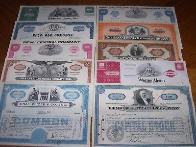 Lot of 10 Different Stock Certificates.Nice Vignettes.TL5