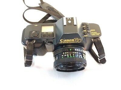 Vintage Working Canon T70 35mm Camera With FD 50mm f 1 : 1.8 Lens New Batteries