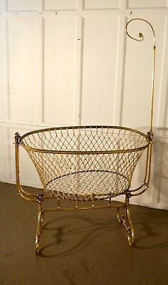 A Rare 19th Century French Brass Swinging, Rocking Crib