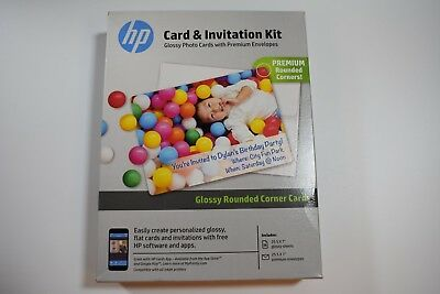 "HP Card & Invitation Kit Photo Cards & Envelopes QTY 25 5x7"" BRAND NEW UNOPENED"
