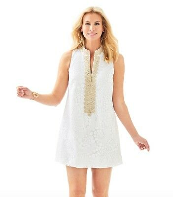 $278 Lilly Pulitzer Augusta Resort White Drippy Paisley Lace Shift Dress