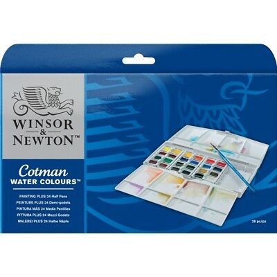 Winsor and Newton Cotman Painting Plus Water Colour Half Pan Pack of 24