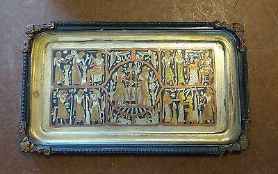 1920's EGYPTIAN REVIVAL BRASS METAL TRAY WITH SILVER & COPPER OVERLAY PLATING