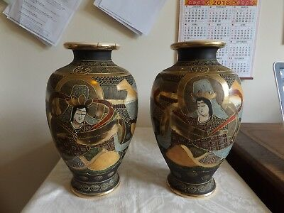 Pair of Early 20th Century Satsuma Japanese Porcelain Vases Painted Ceramic 32cm
