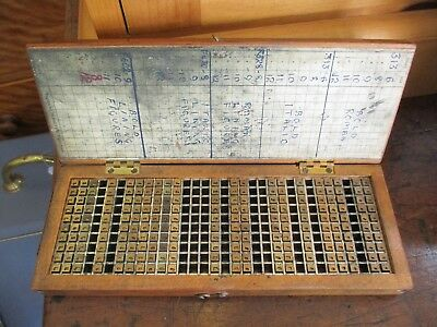 Unusual vintage printers metal small type in a fitted wood case