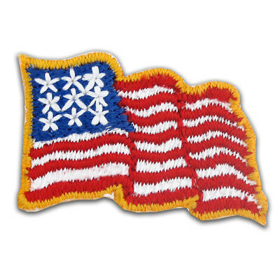 5 Pack- Waving American Flag Embroidered Applique Sticker