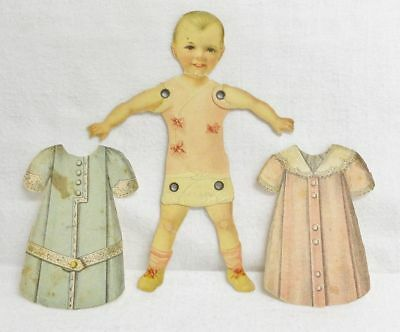 Antique Victorian Girl Child Paper Doll Die Cut & Jointed with 2 Paper Dresses