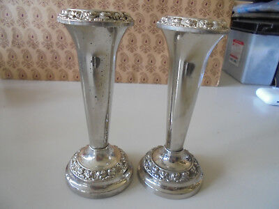 Pair of silver plated bud vases