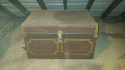 Large Metal Trunk Chest Vintage Retro