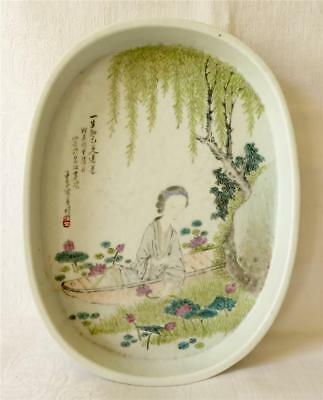 Antique 19Th Century Chinese Porcelain Tray Lady With Water Lilies And Script