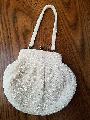Vintage White Beaded Evening Bag Purse Special Cocktail Wedding Pearls Ivory